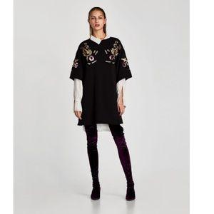 Zara black round neck blouse with details size M